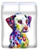 Colorful Dalmatian Puppy Dog Portrait Art Duvet Cover