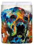 Colorful Dog Art - Heart And Soul - By Sharon Cummings Duvet Cover