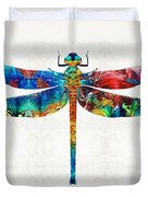 Colorful Dragonfly Art By Sharon Cummings Duvet Cover