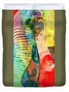 Colorful Elephant Art By Sharon Cummings Duvet Cover by Sharon Cummings