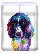 Colorful English Springer Setter Spaniel Dog Portrait Art Duvet Cover
