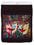 Colorful Faces Gazing - Ink Abstract Faces Duvet Cover
