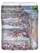 Colorful Fall Leaves Autumn Stone Steps Old Mentone Inn Alabama Duvet Cover