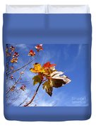 Colorful Fall Leave's With Blue Sky Duvet Cover