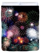 Colorful Fireworks Of Various Colors In Night Sky Duvet Cover