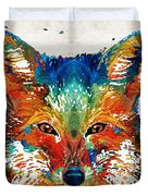 Colorful Fox Art - Foxi - By Sharon Cummings Duvet Cover
