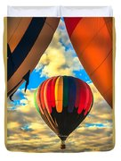 Colorful Framed Hot Air Balloon Duvet Cover by Robert Bales