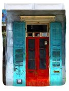 Colorful French Quarter Door  Duvet Cover