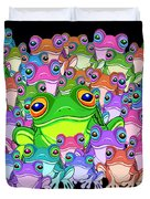 Colorful Froggy Family Duvet Cover