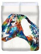 Colorful Goat Art By Sharon Cummings Duvet Cover