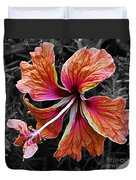 Colorful Hibiscus On Black And White 2 Duvet Cover by Kaye Menner