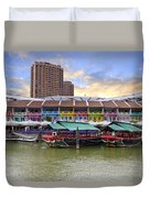 Colorful Historic Houses By River Duvet Cover
