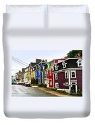 Colorful Houses In Newfoundland Duvet Cover
