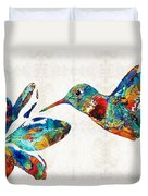 Colorful Hummingbird Art By Sharon Cummings Duvet Cover