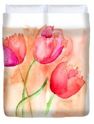 Colorful Illustration Of Red Tulips Flowers  Duvet Cover