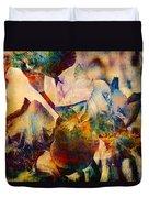 Colorful Iris Watercolor Duvet Cover