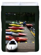 Colorful Kayaks At Whistler Bc Duvet Cover
