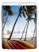 Colorful Kayaks On Beach In The Caribbean Duvet Cover