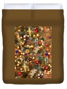 Colorful Lights Christmas Card Duvet Cover