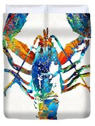 Colorful Lobster Art By Sharon Cummings Duvet Cover