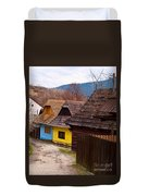 Colorful Log Homes Duvet Cover