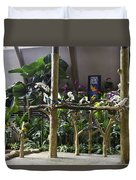 Colorful Macaws And Other Small Birds On Trees At An Exhibit Duvet Cover
