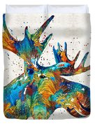 Colorful Moose Art - Confetti - By Sharon Cummings Duvet Cover
