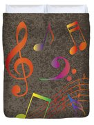 Colorful Musical Notes On Textured Background Illustration Duvet Cover