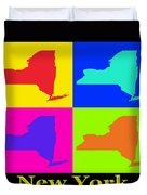 Colorful New York State Pop Art Map Duvet Cover