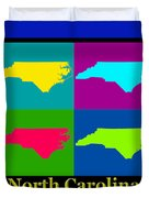 Colorful North Carolina Pop Art Map Duvet Cover
