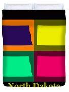 Colorful North Dakota Pop Art Map Duvet Cover