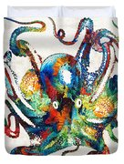 Colorful Octopus Art By Sharon Cummings Duvet Cover