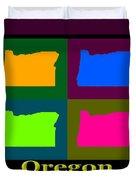 Colorful Oregon Pop Art Map Duvet Cover