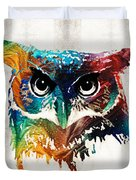 Colorful Owl Art - Wise Guy - By Sharon Cummings Duvet Cover