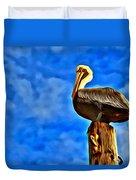 Colorful Pelican Duvet Cover