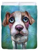 Colorful Pit Bull Puppy With Blue Eyes Painting  Duvet Cover by Svetlana Novikova