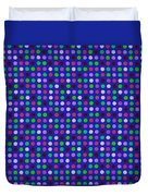 Colorful Polka Dots On Blue Fabric Background Duvet Cover