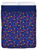 Colorful Polka Dots On Dark Blue Fabric Background Duvet Cover