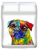 Colorful Pug Dog Painting  Duvet Cover