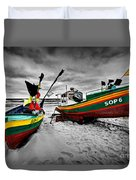 Colorful Retro Ship Boats On The Beach Duvet Cover