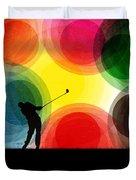 Colorful Retro Silhouette Golfer Duvet Cover