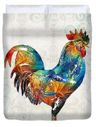 Colorful Rooster Art By Sharon Cummings Duvet Cover