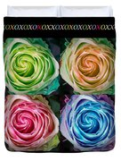 Colorful Rose Spirals With Love Duvet Cover