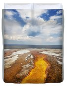 Colorful Runoff From Black Pool Leads To Yellowstone Lake Duvet Cover