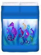 Colorful Sea Horses Duvet Cover