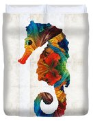 Colorful Seahorse Art By Sharon Cummings Duvet Cover