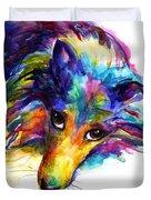 Colorful Sheltie Dog Portrait Duvet Cover
