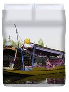 Colorful Shikaras Tied Up Next To The Dal Lake In Srinagar Duvet Cover