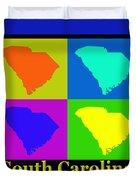 Colorful South Carolina Pop Art Map Duvet Cover