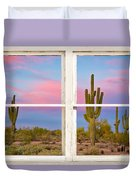 Colorful Southwest Desert Window Art View Duvet Cover